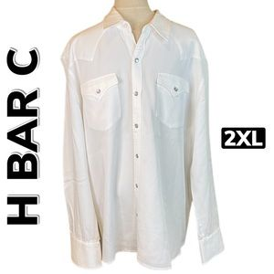 H BAR C Black Label Western Snap Button Shirt 2XL